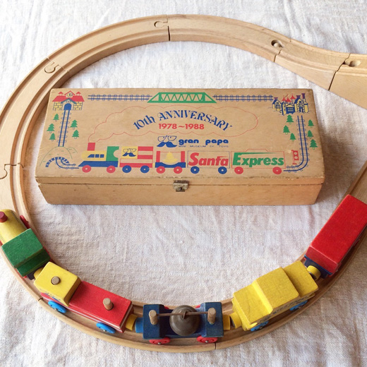 グランパパ、木製レール、電車、木のおもちゃ、ヴィンテージ、10周年記念、知育玩具