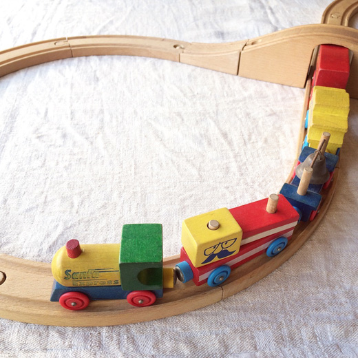 グランパパ、木製レール、電車、木のおもちゃ、ヴィンテージ、10周年記念