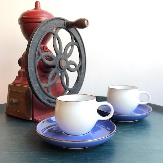 白山陶器、森正洋、G型デミタスカップ&ソーサー、モダンデザイン、ブルー