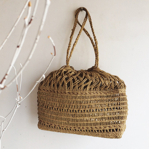奥会津、編み組細工、ヒロロ細工、巾着、ヴィンテージ、クラフト、手仕事、希少、かごバッグ