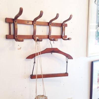 木製ハンガー、コートハンガー、フック、ヴィンテージ