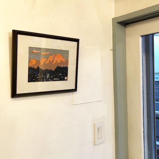 小野原達治、木版画、飛騨高山、岳の夕映え、額装
