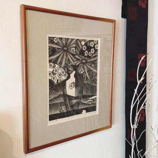 富張宏司、版画作品、モダンアート、峰、1982年、額裝、新春