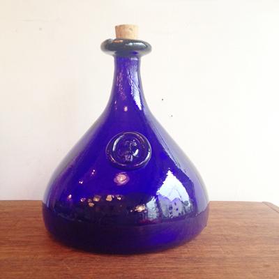 ホルムガード、北欧ガラス、オイルボトル、ブルー