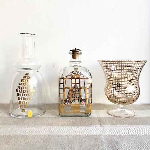 ホルムガード、クリスマスボトル、ボヘミアンガラス、金彩、ゴールド