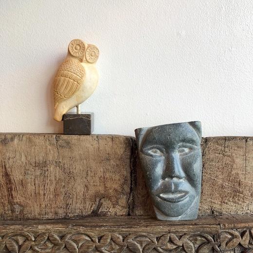 イヌイットアート、石彫、ソープストーン、フォークアート、フクロウ