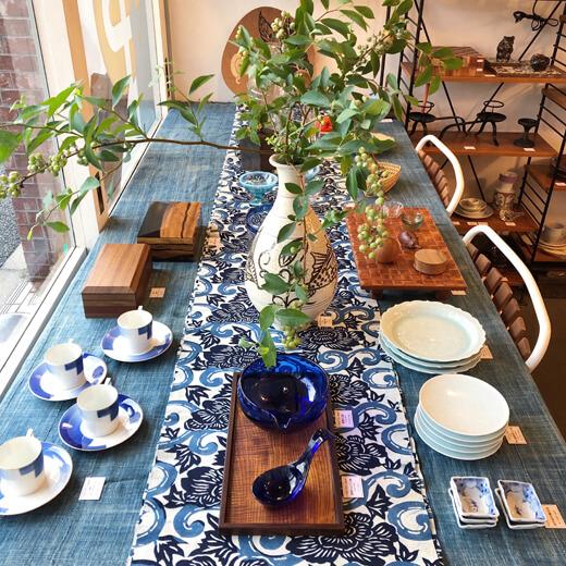 和モダン、和食器、和ガラス、アンティーク、氷コップ、夏のしつらい、藍染、民芸、工芸