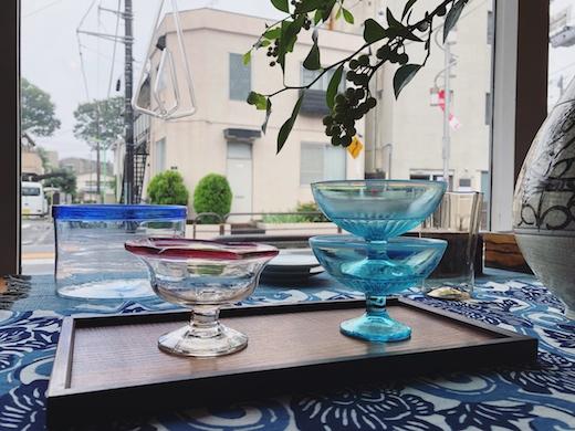 アンティークガラス、氷コップ、金魚鉢、和ガラス、夏のしつらい