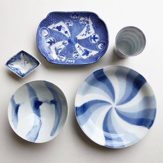 和食器、古陶磁、印判、染付、捻文、和モダン、皿、豆皿
