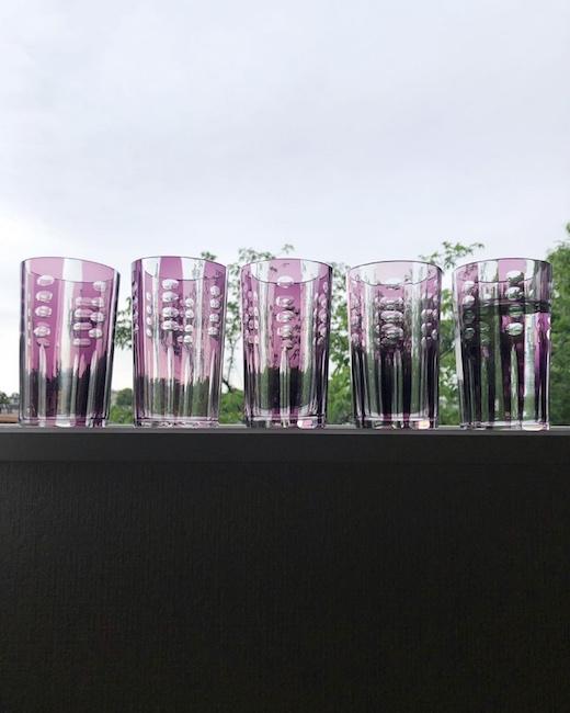 戦前、和ガラス、切子コップ、紫被せガラス、レトロモダン
