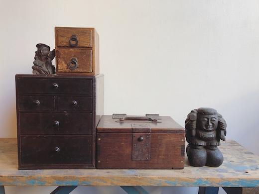 古道具、抽斗、書道具箱、恵比寿大黒