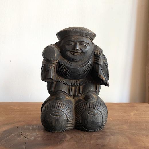 大黒天、大黒様、七福神、骨董、古民具、木彫り、置物、木像、アンティーク