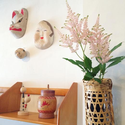 竹掛花入れ、吊花器、竹工芸、竹かご、ヴィンテージ、張子、民芸、和モダン、泡盛草