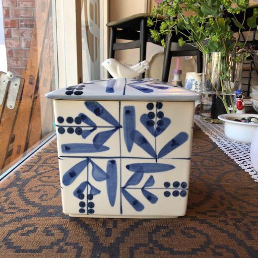 食パンケース、日本クラフト、たち吉、陶器、鳥デザイン、陶箱