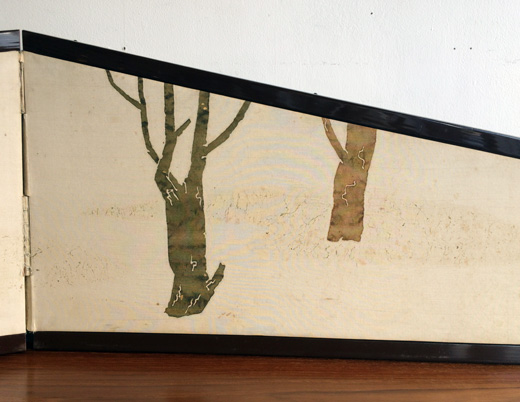 ヴィンテージクラフト、枕屏風、風炉先屏風、染色、暮田延美、工芸、茶道具