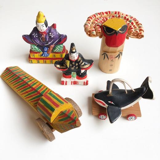 郷土玩具、ヴィンテージ、木鷽、鯨車、きじ車、土人形