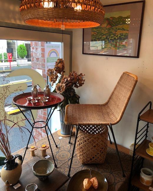 ジャパニーズモダン、山川ラタン、籐椅子、ヴィンテージ家具、竹照明
