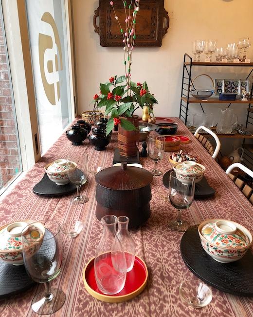 お正月ディスプレイ、正月飾り、正月花、ヴィンテージインテリア、ナンセンス下北沢