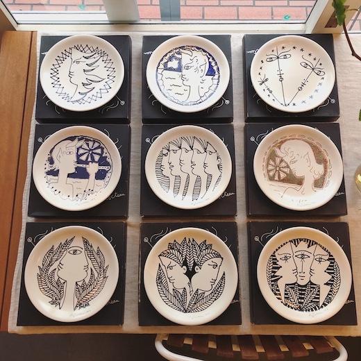 ジャンコクトー、絵皿、seyei陶器、壁掛け、モダンアート、1960年代、ヴィンテージ