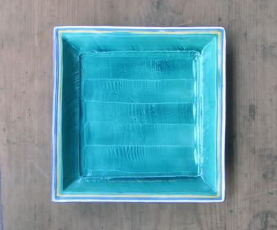 川瀬竹春、緑彩四方皿、古余呂技窯