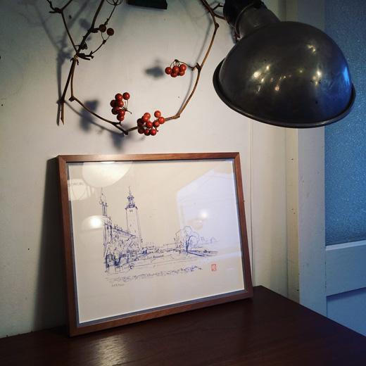 吉村順三、リトグラフ、ストックフォルム市庁舎、限定数、コレクション、1964年、希少作品