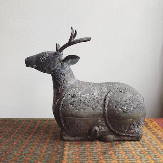 クメールシルバー、銀細工、シルバーボックス、小物入れ、カンボジア、鹿