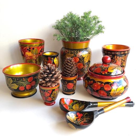 ロシア雑貨、ホフロマ、漆器、ヴィンテージ雑貨、ロシア民芸品、クリスマス雑貨