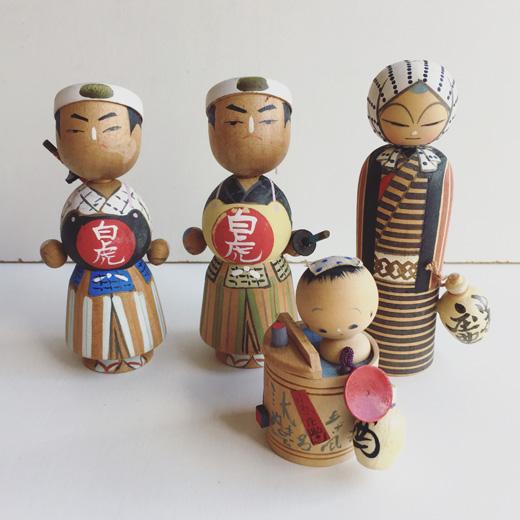 福島県、東北、被災地、郷土玩具、会津若松、白虎隊、小原庄助、民芸品、ヴィンテージ