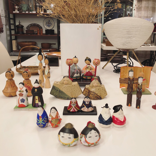 こけし雛、雛人形、郷土玩具、三春張子、会津張子、ヴィンテージクラフト、民芸品