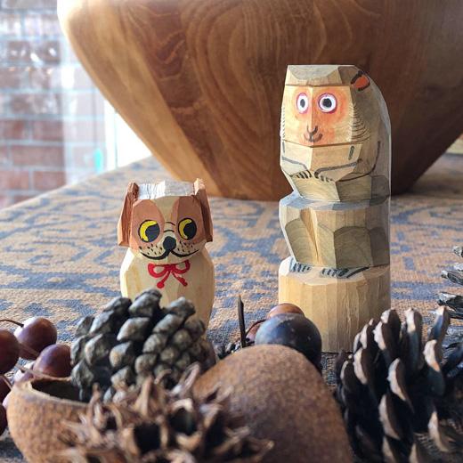 民芸こけし、一刀彫、猿、犬、胡桃細工、くるみ人形、ヴィンテージ