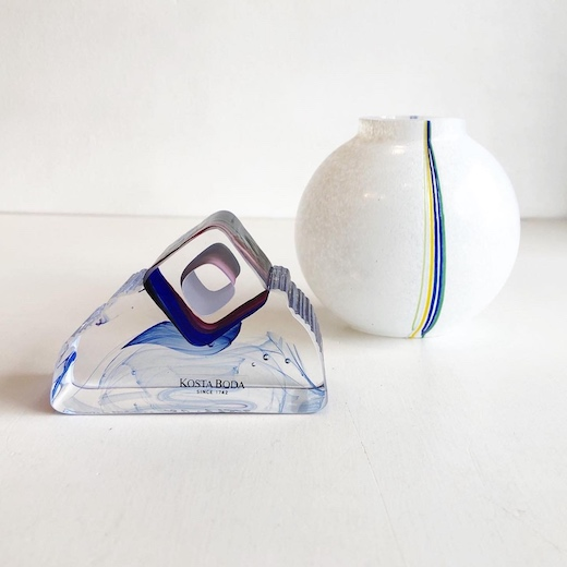 コスタボダ、レインボウベース、虹、ガラスオブジェ、北欧ガラス