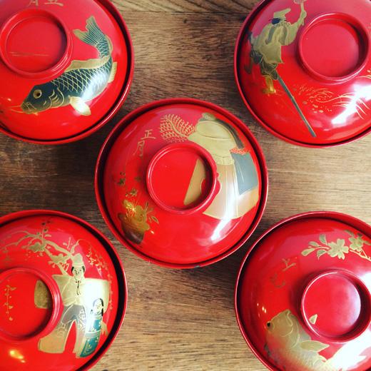 蒔絵絵変わり吸物碗、漆器、骨董、伝統工芸、アンティーク、歳時記、縁起物