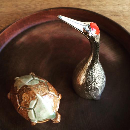 鶴と亀、縁起物、香合、呼鈴、茶道具