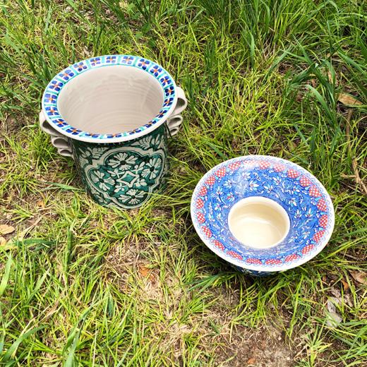 ゴルキーゴンザレス、マジョリカ焼、トルコタイル、陶器、世界の民藝、鉢カバー、花器、インテリアグリーン、ヴィンテージ雑貨