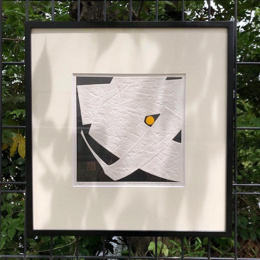 巻白、木版画、エンボス、女、漢字、ウーマン、モダン、版画、1976