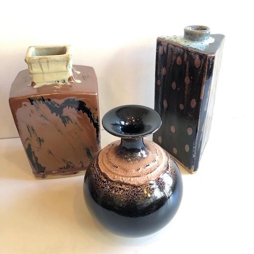 まるさんかくしかく、ヴィンテージ陶器、花瓶、花器、益子焼、佐久間藤太郎、三角瓶、和モダン