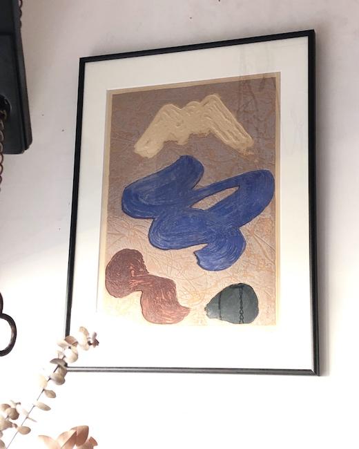 中山正実、カラーエッチング、銅版画、不二、富士山、1966、額装