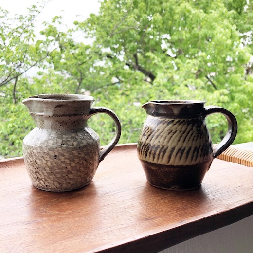 島岡達三、地釉象嵌縄文ジャグ、益子焼、民芸陶器、人間国宝、花器、ピッチャー