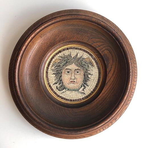 メデューサ、モザイク画、壁掛け、額装、ヨーロッパヴィンテージ、ギリシア神話、ヴィンテージアート