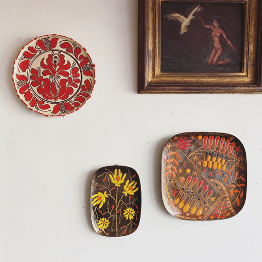 ヴィンテージ、アート、壁掛け、絵皿、油彩画、エナメルプレート、miguelpineda、ウォールデコレーション