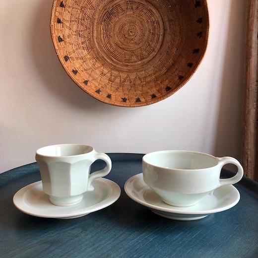 川野恭和、艸茅窯、白磁、コーヒー碗皿、ティーカップ、瀧田項一、民藝