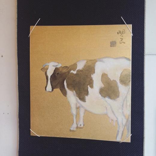 宮原明良、日本画、乳牛、色紙、色紙掛け、床の間、掛軸、和モダン、水墨画