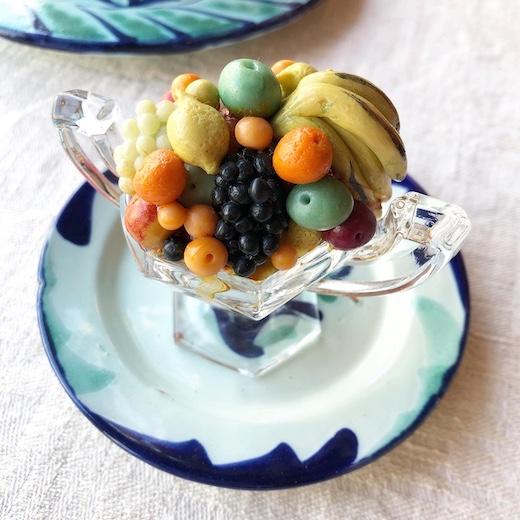 ミニチュア、フルーツ、フルーツバスケット、フルーツ盛り合わせ、ヴィンテージ雑貨