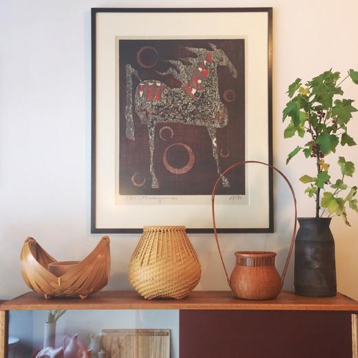 モダンクラフト、竹かご、竹花入、竹工芸、ヴィンテージ、花籠