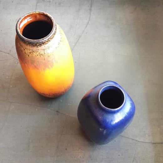 北欧ヴィンテージ、ヴィンテージ陶器、フラワーベース、西ドイツ、デンマーク、モダンデザイン、scheurich、lavavase、knabstrup