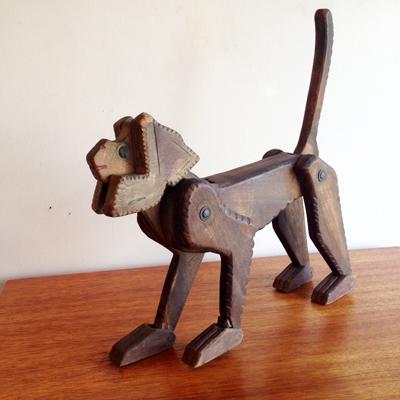 猿のおもちゃ、木のおもちゃ、サル