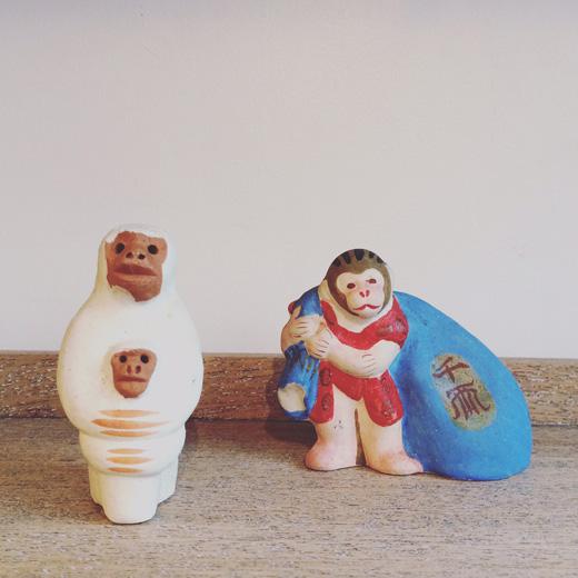郷土玩具、土人形、帖佐人形、猿、縁起物