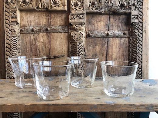 吹きガラス、ガラス鉢、ヴィンテージガラス、氷コップ、かき氷カップ、ハンドクラフト