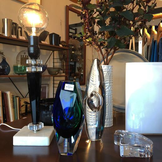 ヴィンテージガラス、北欧ガラス、ムラノガラス、クリスマス、テーブルランプ、ガラス器