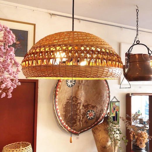 竹照明、ナショナル、ヴィンテージ照明、和モダン、竹編み、ペンダントライト